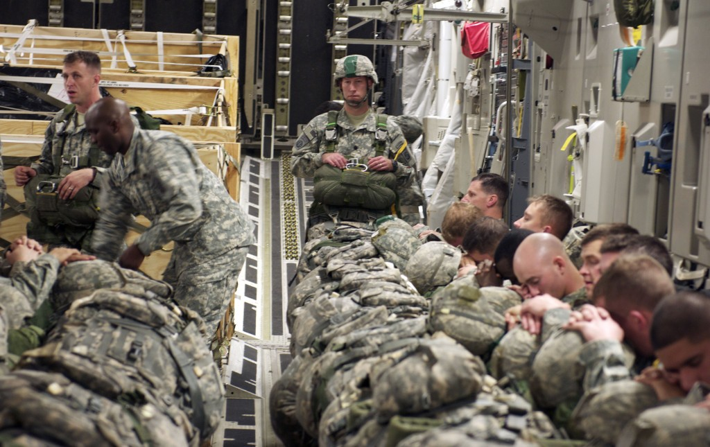 Soldiers from the 505th Parachute Infantry Regiment catch a few winks before jumping over North Carolina during a training exercise. MOMRP is funding research studying the effects of sleep deprivation and how to mitigate them. (Army)