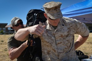 A Marine prepares to test out the Lightning Pack during the Experimental Forward Operating Base '14 here May 13. The pack converts normal walking movement into electrical power using a generator. ExFOB '14 is taking place May 12-16 and offers Marines the opportunity to come out and evaluate technologies that could possibly be used in the Marine Corps' future.
