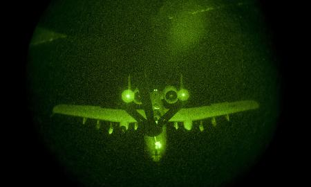 Seen here being refueled at night, the A-10 is at risk of being replaced by the F-35 as the military's primary ground support aircraft. (USAF)